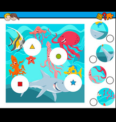 match pieces puzzle with sea animals group vector image