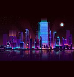 Metropolis night skyline neon color cartoon vector
