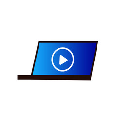 modern laptop on desktop video play at cinema vector image