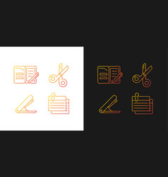 Office stationery supplies gradient icons set vector