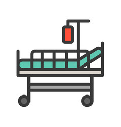 Patient bed and blood bag filled outline icon vector