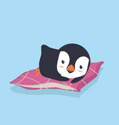 penguinl sleeping with pillow vector image