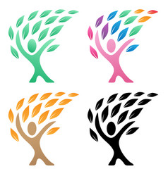 Person life tree logo group vector
