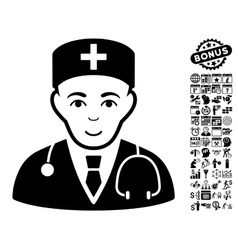 Physician Flat Icon With Bonus vector