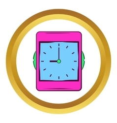 Pink alarm clock icon cartoon style vector