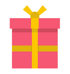 Pink gift box with a yellow ribbon icon isolated vector