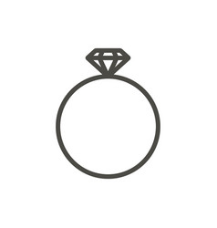 ring icon line diamond ring symbol vector image