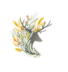 Romantic deer or reindeer composition with fir vector