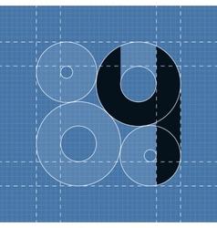 Round engineering font Symbol 4 vector image