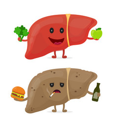 Sad unhealthy sick liver with bottle vector