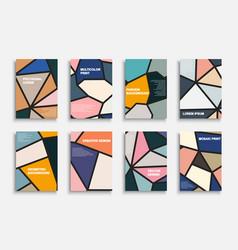 set colorful polygonal geometric covers vector image