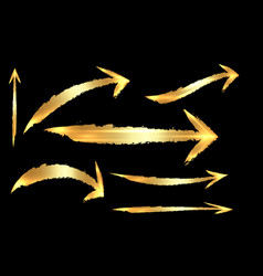 set different gold grunge brush arrows pointers vector image