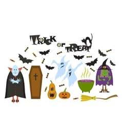Set of Halloween characters Halloween banner vector