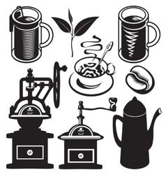 set of utensils for hot drinks vector image