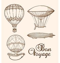 Set of vintage hand drawn air balloons vector image