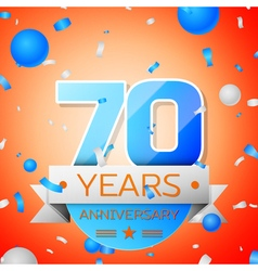 Seventy years anniversary celebration on orange vector