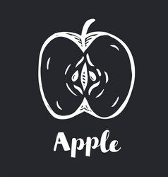 silhouette drawing an apple and vector image