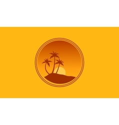 Silhouette of palm and sun landscape vector