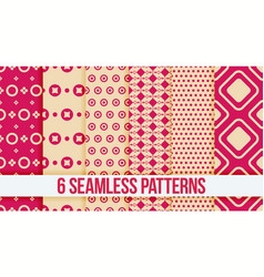 six pink seamless geometric patterns vector image
