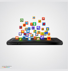 smartphone with cloud application icons vector image