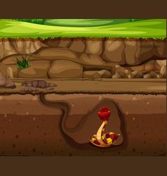 Snake in underground cave vector
