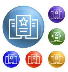 star paper icons set vector image
