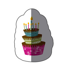 sticker colorful cake three floors with candles vector image
