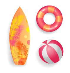 summer season surfboard set vector image