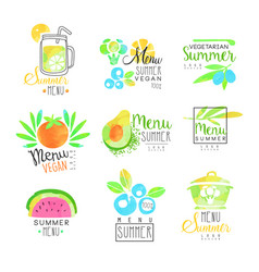 Summer vegetarian menu set for logo design vector