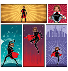super heroine banners 5 vector image