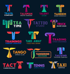 t icons modern design corporate identity signs vector image