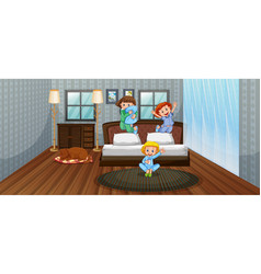 Three kids having fun in bedroom vector