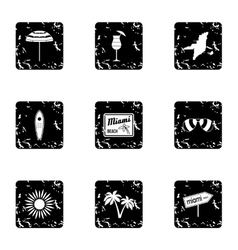 Tourism in Miami icons set grunge style vector image