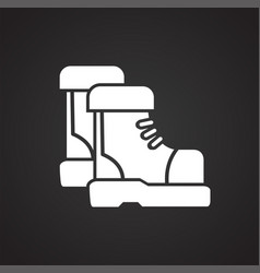 tracking boots icon on black background for vector image