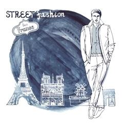 Trendy dudeParis street fashionWatercolor ink vector