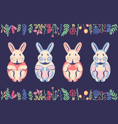Ute flat rabbits and pastel bunnies with hand vector