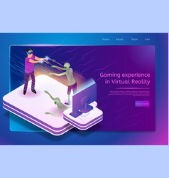 Virtual gaming service isometric web banner vector