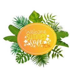 welcome summer sale 70 percent off banner poster vector image