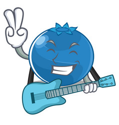 With guitar blueberry character cartoon style vector