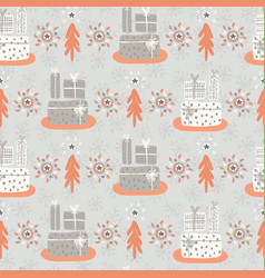 wrapped presents under the tree grey and orange vector image