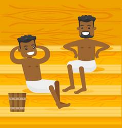 Young african-american men relaxing in the sauna vector