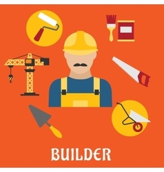 Builder with flat tools icons vector image vector image