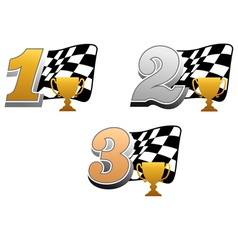 Checkered racing flag with trophy vector
