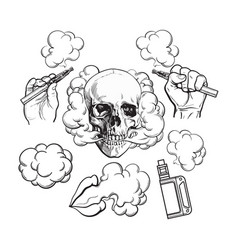 vaping related elements symbols - smoking skull vector image vector image