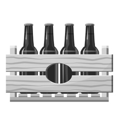 Wooden crate with beer bottles icon vector