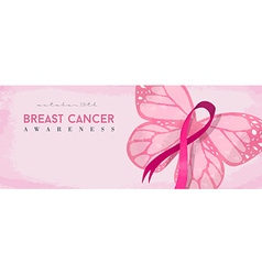 Breast cancer awareness banner with pink butterfly vector image vector image
