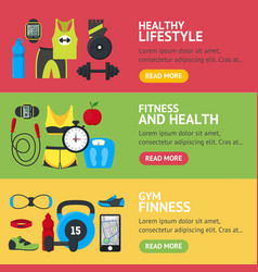 cartoon fitness sport banner horizontal set vector image vector image