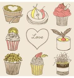 Fancy cupcakes vector image