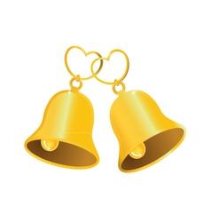 Golden wedding bell with love heart vector image