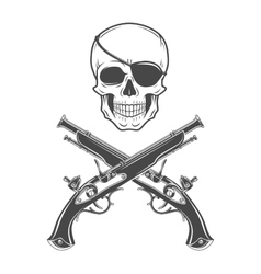 Jolly Roger with eyepatch and pistols logo vector image